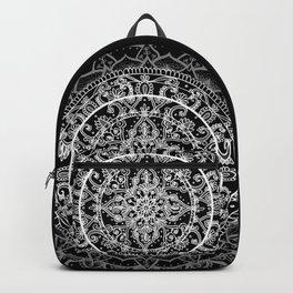 Detailed Black and White Mandala Pattern Backpack