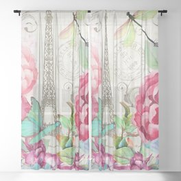 Paris Flower Market garden art Sheer Curtain