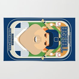 Baseball Blue Pinstripes - Rhubarb Pitchbatter - Josh version Rug