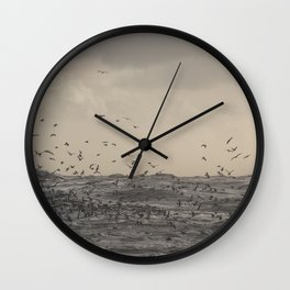 Seagulls over the stormy sea Wall Clock