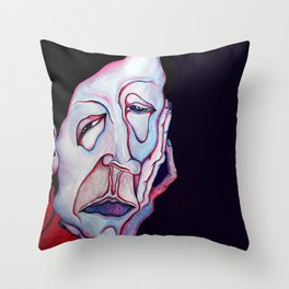 Thinker Surreal Melting Portrait Of a Man Damned Poet Throw Pillow