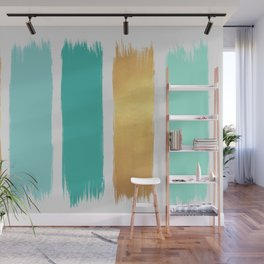 Mint and Gold Strokes Wall Mural