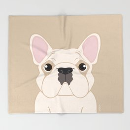 Frenchie - Cream Throw Blanket