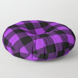 Purple and Black Buffalo Plaid Floor Pillow