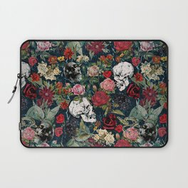 Distressed Floral with Skulls Pattern Laptop Sleeve