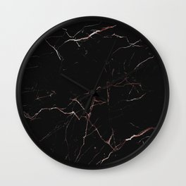 black and rose gold marble Wall Clock