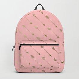 Bohemian elegant faux gold coral modern arrow pattern Backpack