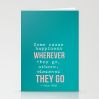 oscar wilde Stationery Cards featuring Quote By Oscar Wilde by Jenny Althouse