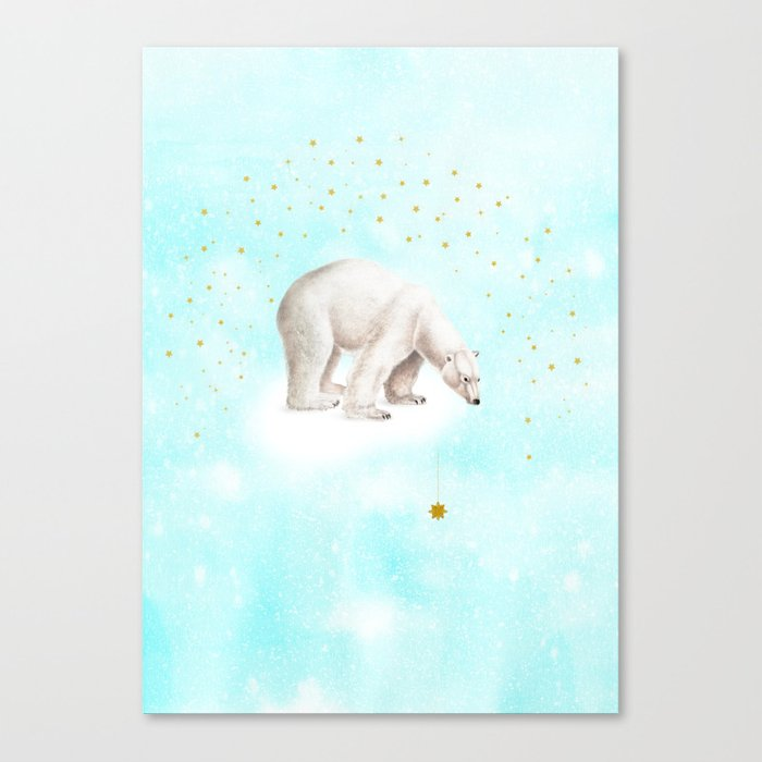Wish upon a star polar bear Canvas Print