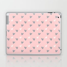 white and grey heart acylic brush pattern on pink Laptop & iPad Skin