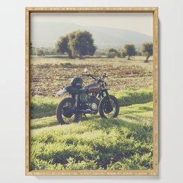 Moto guzzi, café racer, photo in south italy, man cave. Scrambler, fine art, motorcycle, motorbike Serving Tray