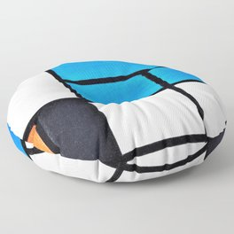 Composition With Large Blue Plane, Red, Black, Yellow, And Gray - Piet Mondrian Floor Pillow