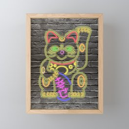 Maneki-Neko Neon – Good Luck – Black Framed Mini Art Print