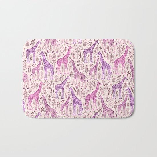 Pink Giraffe Pattern Bath Mat
