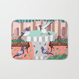 Pigeons in Central Park Bath Mat