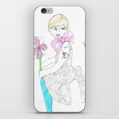 Girl with big bow iPhone & iPod Skin