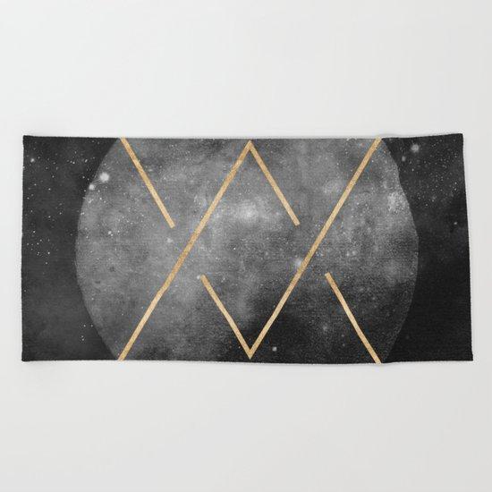 Gold Moon Geometric Tribal Design Beach Towel