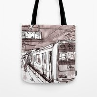subway Tote Bags featuring Subway by Jonas Ericson