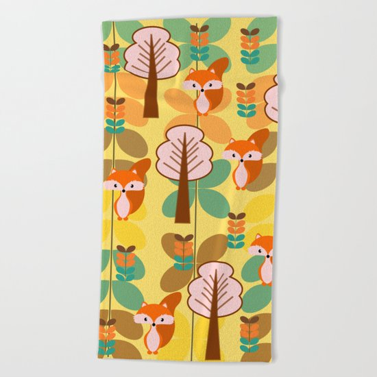 Foxes in the forest Beach Towel