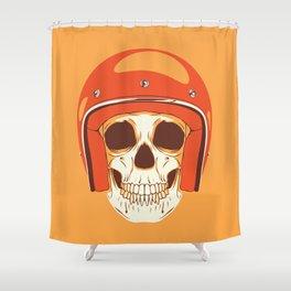 Helmet Skull Shower Curtain