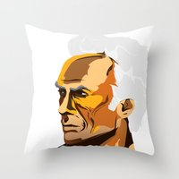 clint eastwood Throw Pillows featuring Eastwood by zero Bounty