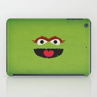 sesame street iPad Cases featuring Sesame Street Vintage Nursery Art Oscar the Grouch Retro Style Minimalist Poster Print by The Retro Inc