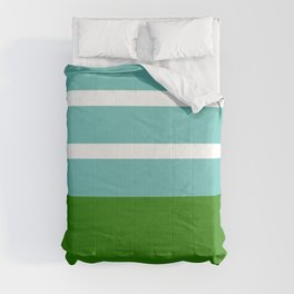 Summer Delight, teal, white and green Comforters