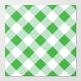 Gingham - Green Canvas Print