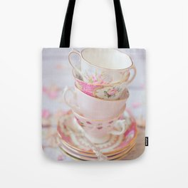 Shabby Chic Vintage Cups in Pink Tote Bag