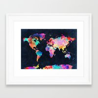 map Framed Art Prints featuring World map by Bekim ART