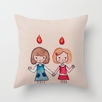 sisters Throw Pillows featuring Sisters by carosurreal