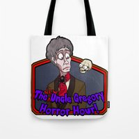 greg guillemin Tote Bags featuring Greg and Chant by UncleGregory