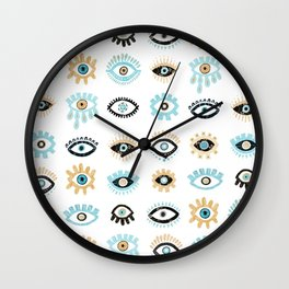 Evil Eye Illustration Wall Clock