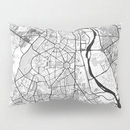 New Delhi Map Gray Pillow Sham