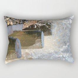 Breaking Point - waves breaking over a groyne on Cromer beach,Norfolk,UK. Rectangular Pillow