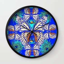 TURQUOISE & CREAM COLORED BUTTERFLIES  BLUE PEACOCK ART Wall Clock