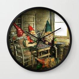 Garden Gnomes Playing Checkers Wall Clock