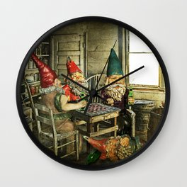 Garden Gnomes Playing Checkers Wall Clock