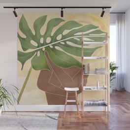 Woman with Monstera Leaf Wall Mural