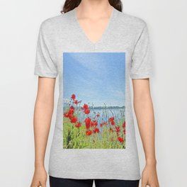 Red poppies in the lakeshore Unisex V-Neck