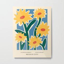 Flower market print, Mexico city, Sunflower, Posters aesthetic, Flower art, Floral art Metal Print