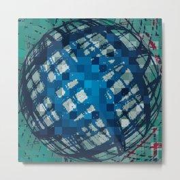 Floating Blue Sphere or Ovoid? Metal Print