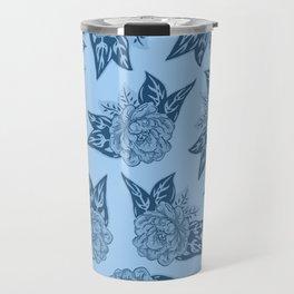Cabbage Roses in Blue Travel Mug