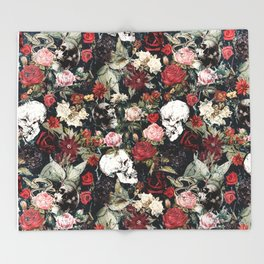 Vintage Floral With Skulls Throw Blanket