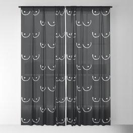 Black Boobs Sheer Curtain