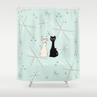 mid century Shower Curtains featuring Mid Century Meowdern by Manda Sisco
