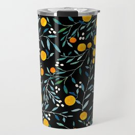 Oranges Black Travel Mug