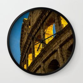 Sunset Over The Roman Colosseum. Wall Clock