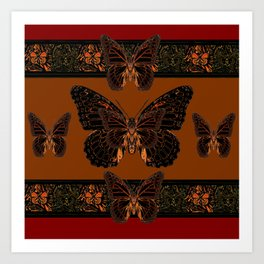 BLACK  MONARCH BUTTERFLIES,COFFEE BROWN-BURGUNDY ART Art Print