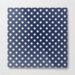 Polka Dot White On Navy Metal Print
